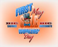 International Workers` day, sales, commercial event. Holidays, design background with 3d texts for International Workers` day, sales commercial event; Vector Stock Photo