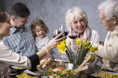Holidays with family are always happy. Happy family during holiday dinner, smiling, talking, drinking red wine Royalty Free Stock Photography