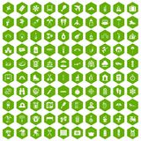 100 holidays family icons hexagon green. 100 holidays family icons set in green hexagon isolated vector illustration Royalty Free Stock Photo