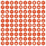 100 holidays family icons hexagon orange. 100 holidays family icons set in orange hexagon isolated vector illustration Royalty Free Illustration