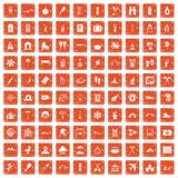100 holidays family icons set grunge orange. 100 holidays family icons set in grunge style orange color isolated on white background vector illustration royalty free illustration