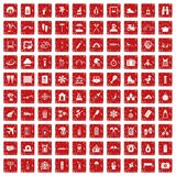 100 holidays family icons set grunge red. 100 holidays family icons set in grunge style red color isolated on white background vector illustration Royalty Free Stock Photography