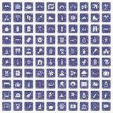 100 holidays family icons set grunge sapphire. 100 holidays family icons set in grunge style sapphire color isolated on white background vector illustration Stock Photos