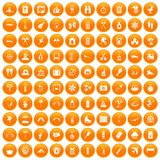 100 holidays family icons set orange. 100 holidays family icons set in orange circle isolated vector illustration Royalty Free Illustration