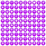 100 holidays family icons set purple. 100 holidays family icons set in purple circle isolated vector illustration Royalty Free Stock Photo