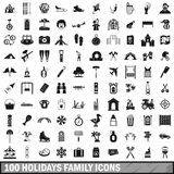 100 holidays family icons set, simple style. 100 holidays family icons set in simple style for any design vector illustration Stock Photo