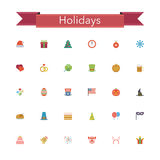 Holidays Flat Icons. Holidays and events flat icons set. Vector illustration Stock Photos