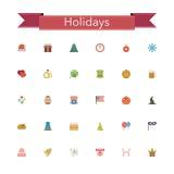 Holidays Flat Icons Stock Photos
