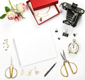 Holidays flat lay gift box vintage camera rose flowers Stock Photos