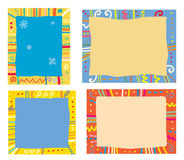 Holidays frames with pattern, snowflakes Stock Images