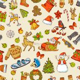 Holidays funny pictures. Vector seamless pattern with christmas icons. Xmas and new yeat background illustration Royalty Free Stock Photo