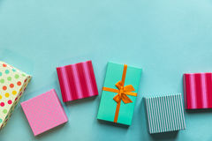 Holidays giftboxes on the pastel mint background for mother`s da. Y, christmas, birthday Stock Photography