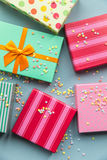 Holidays giftboxes on the pastel mint background. For Royalty Free Stock Photography