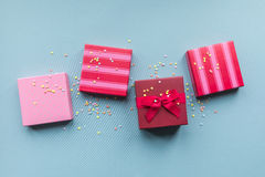 Holidays giftboxes on the pastel mint background. For Royalty Free Stock Photo