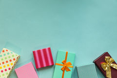 Holidays giftboxes on the pastel mint background. For mother`s day, christmas, birthday Royalty Free Stock Image