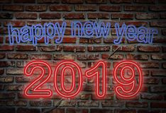 neon sign, happy new year 2019 royalty free stock photos
