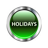 Holidays green button on white Stock Photos