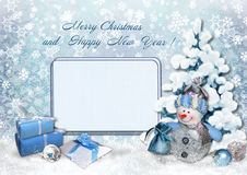 Holidays greeting card. Background with Christmas tree and snowman and card for photo or text Stock Photography