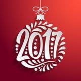 Holidays greeting card Christmas ball 2017 year. Holidays greeting card with a calligraphic lettering. Vector eps10 illustration. Christmas ball 2017 year stock illustration