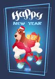 Holidays 2018 Greeting Card Happy New Year Lettering Over Cute Dog In Santa Hat. Flat Vector Illustration vector illustration