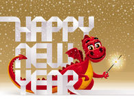 Holidays greeting - dragon with a sparkler. Cute red dragon with a sparkler and greeting sign from paper letters - Christmas illustration Royalty Free Stock Images