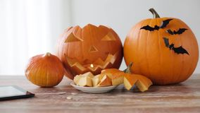 Halloween jack-o-lantern, pumpkins with tablet pc stock video footage