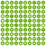 100 holidays icons hexagon green. 100 holidays icons set in green hexagon isolated vector illustration Stock Photography