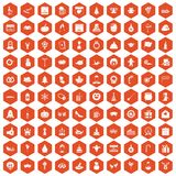 100 holidays icons hexagon orange. 100 holidays icons set in orange hexagon isolated vector illustration Stock Illustration