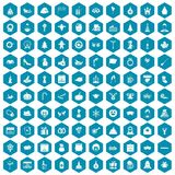 100 holidays icons sapphirine violet. 100 holidays icons set in sapphirine hexagon isolated vector illustration Royalty Free Stock Images