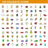 100 holidays icons set, cartoon style. 100 holidays icons set in cartoon style for any design illustration royalty free illustration