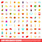 100 holidays icons set, cartoon style. 100 icons holidays set in cartoon style for any design vector illustration Stock Photography