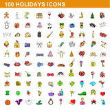100 holidays icons set, cartoon style. 100 holidays icons set in cartoon style for any design vector illustration Stock Photography