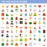 100 holidays icons set, flat style. 100 holidays icons set in flat style for any design illustration stock illustration
