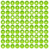 100 holidays icons set green circle. Isolated on white background vector illustration stock illustration