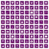 100 holidays icons set grunge purple. 100 holidays icons set in grunge style purple color isolated on white background vector illustration Stock Photography