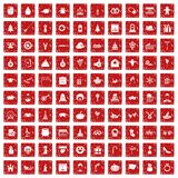 100 holidays icons set grunge red. 100 holidays icons set in grunge style red color isolated on white background vector illustration Stock Photography
