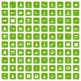 100 holidays icons set grunge green Stock Photo