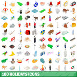 100 holidays icons set, isometric 3d style. 100 holidays icons set in isometric 3d style for any design vector illustration Royalty Free Stock Photos