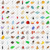 100 holidays icons set, isometric 3d style. 100 holidays icons set in isometric 3d style for any design vector illustration Stock Images