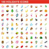 100 holidays icons set, isometric 3d style vector illustration