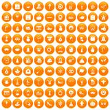 100 holidays icons set orange. 100 holidays icons set in orange circle isolated on white vector illustration royalty free illustration