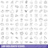 100 holidays icons set, outline style Stock Photo