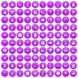 100 holidays icons set purple. 100 holidays icons set in purple circle isolated on white vector illustration Royalty Free Stock Photo