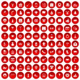 100 holidays icons set red. 100 holidays icons set in red circle isolated on white vector illustration Royalty Free Stock Images