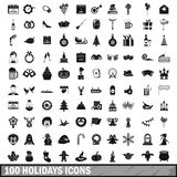 100 holidays icons set in simple style Stock Image