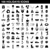 100 holidays icons set, simple style. 100 holidays icons set in simple style for any design vector illustration Royalty Free Stock Photography
