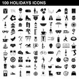 100 holidays icons set, simple style. 100 holidays icons set in simple style for any design illustration vector illustration