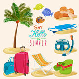 Holidays illustration with summer objects Royalty Free Stock Photography