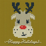 Holidays knitted card or background with a deer Royalty Free Stock Image