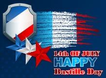 Holidays layout template with grunge, brush effect for France Independence Day. Fourteenth of July National Celebration of France background; Holidays layout stock illustration